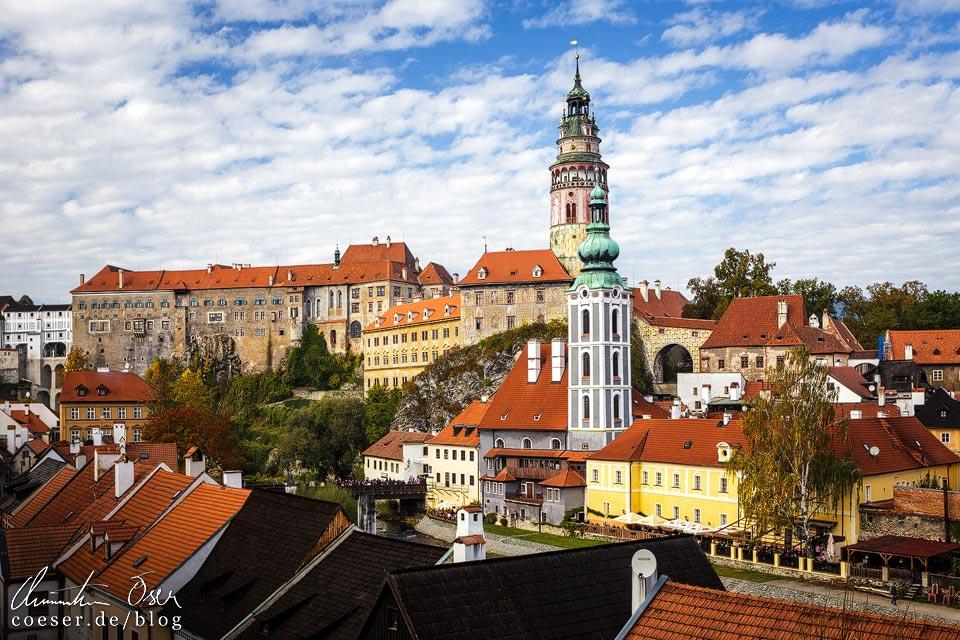 Der mittelalterliche Stadtkern von Český Krumlov untertags