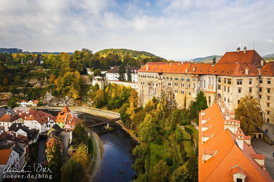 Blick auf Český Krumlov vom Schlossturm aus gesehen