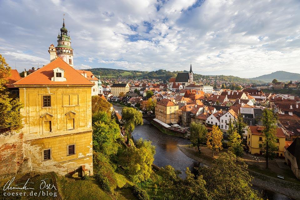 Blick vom Schloss auf Český Krumlov