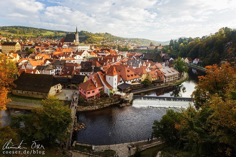 Blick von der Mantelbrücke auf Český Krumlov
