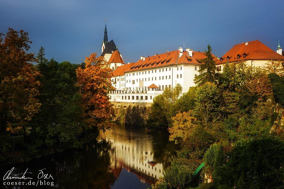 Ausblick von meinem Zimmer in der Penzion Teddy auf das alte Kloster in Český Krumlov