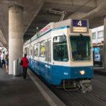 Eine alte Straßenbahn-Garnitur in Zürich