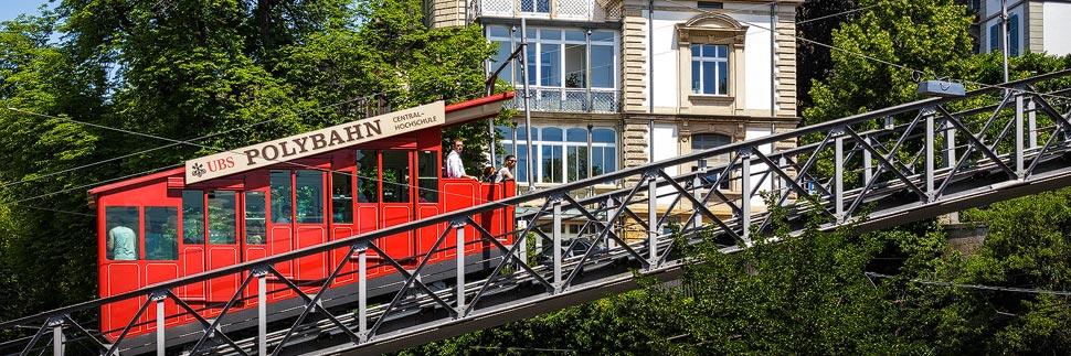 Die Standseilbahn Polybahn in Zürich