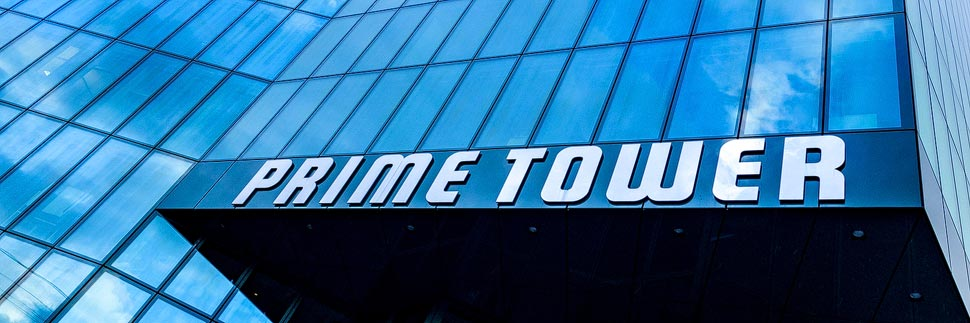 Detailansicht des Prime Tower in Zürich