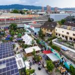 Blick vom Freitag Tower auf Frau Gerolds Garten in Zürich