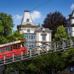 Die Polybahn nach Verlassen der Talstation in Zürich