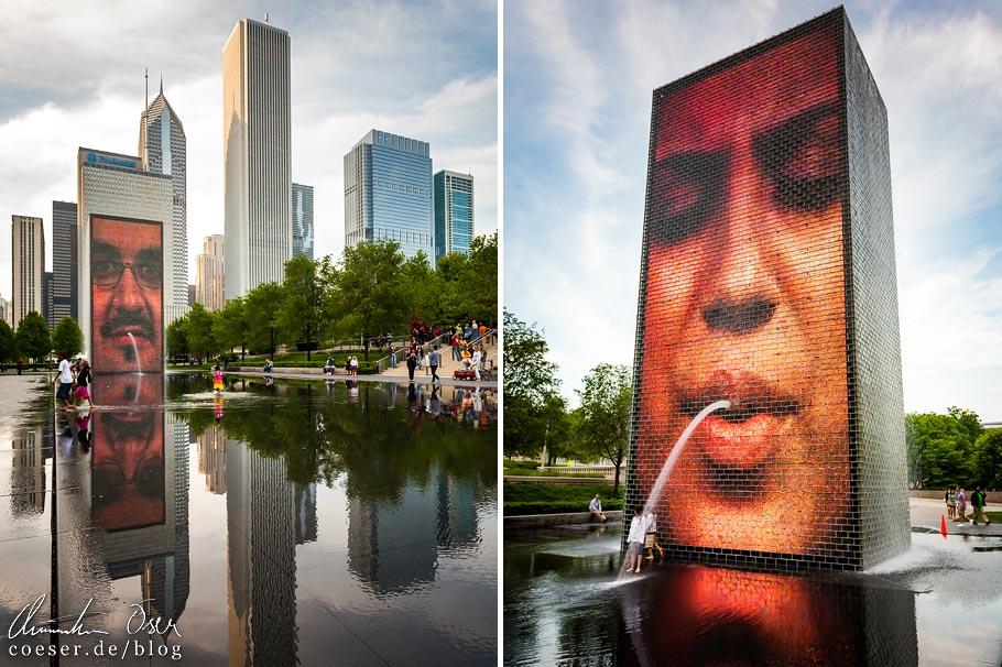 Crown Fountain im Millennium Park von Chicago