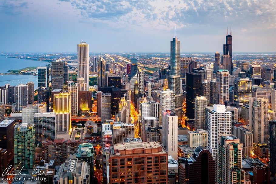 Aussicht von der Plattform 360 Chicago im John Hancock Tower