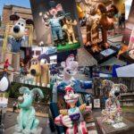 Collage aus verschiedenen lebensgroßen Figuren von Wallace und Gromit in Bristol