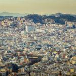 Ausblick auf Barcelona von außerhalb des Schlosses Castell de Montjuïc