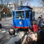 Die historische Straßenbahn Tramvia Blau in Barcelona