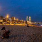 Der beleuchtete Stadtstrand La Barceloneta