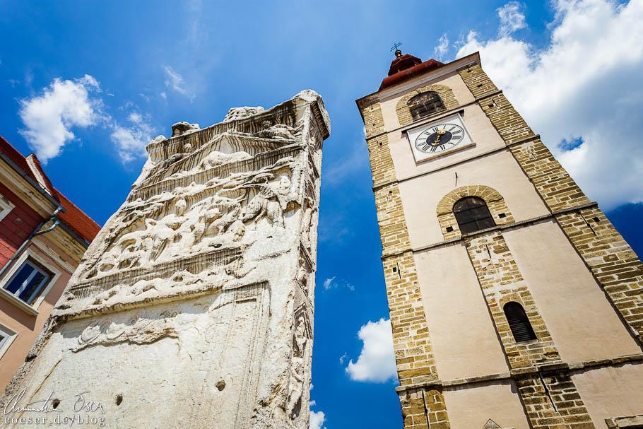 Orpheusdenkmal und Stadtturm in Ptuj