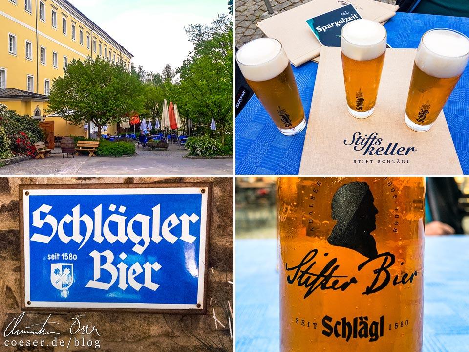 Gastgarten und Biere im Stiftskeller des Stift Schlägl