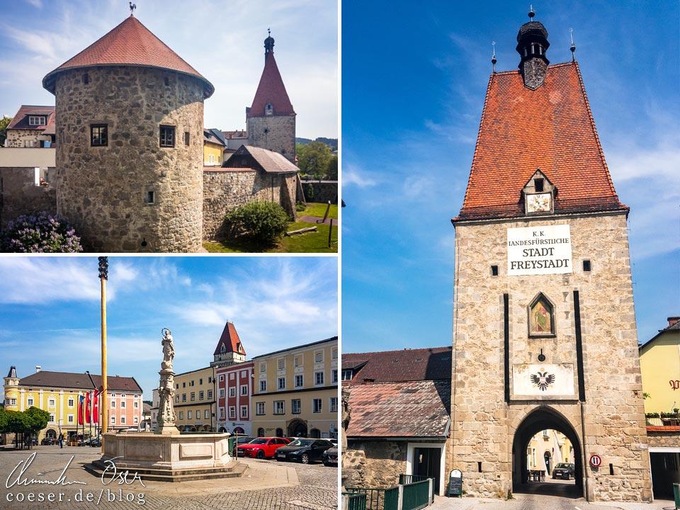 Sightseeing in Freistadt: Bürgerkorpsturm, Hauptplatz mit Marienbrunnen und Linzertor