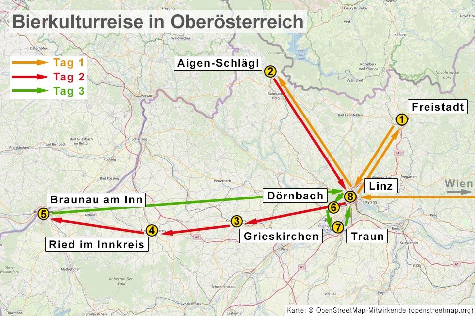 Karte einer Bierkulturreise in Oberösterreich