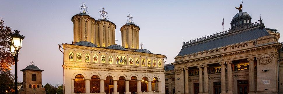 Außenansicht der Patriarchalkathedrale und des Patriarchenpalasts in Bukarest