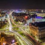 Blick vom Zimmerbalkon des Hotel Intercontinental auf den Universitätsplatz (Piața Universității) in Bukarest