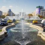 Springbrunnen auf dem Bulevardul Unirii vor dem Parlamentspalast in Bukarest