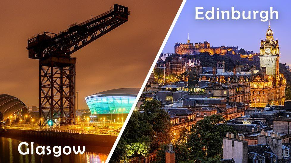 Skyline von Glasgow und Skyline von Edinburgh