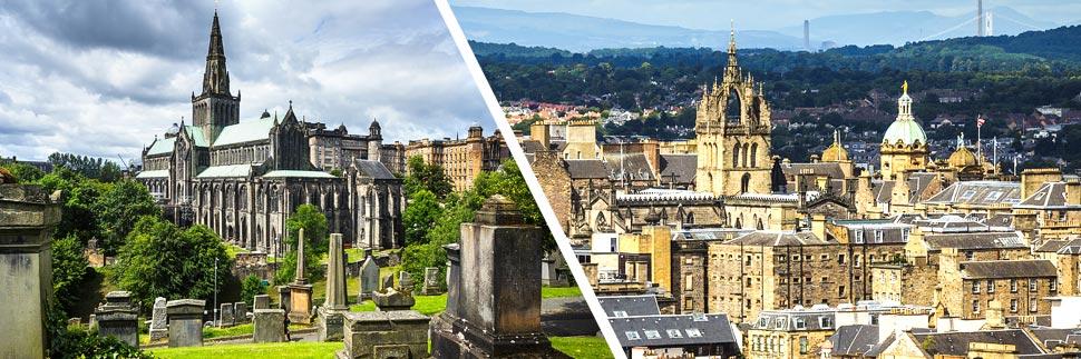 St. Mungo's Cathedral in Glasgow und die Skyline von Edinburgh