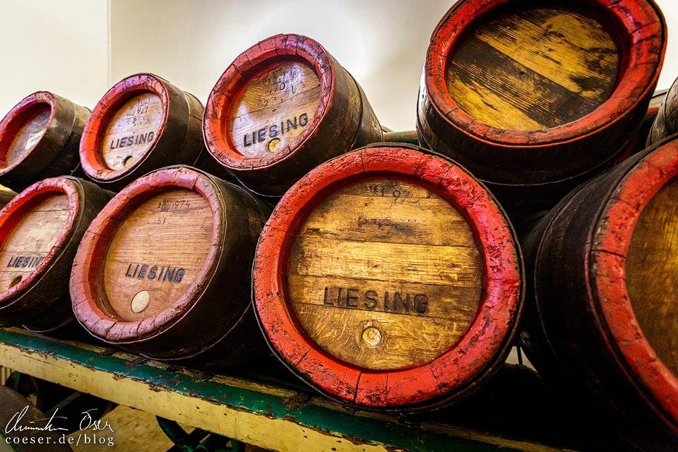 Alte Fässer der Brauerei Liesing in der Brauerei Schwechat