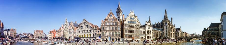 Panorama von Korenlei und Graslei in Gent