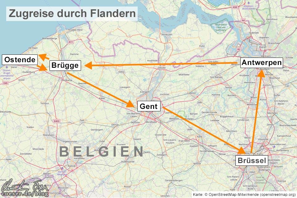 Karte mit einem Routenvorschlag für eine Zugreise durch Flandern