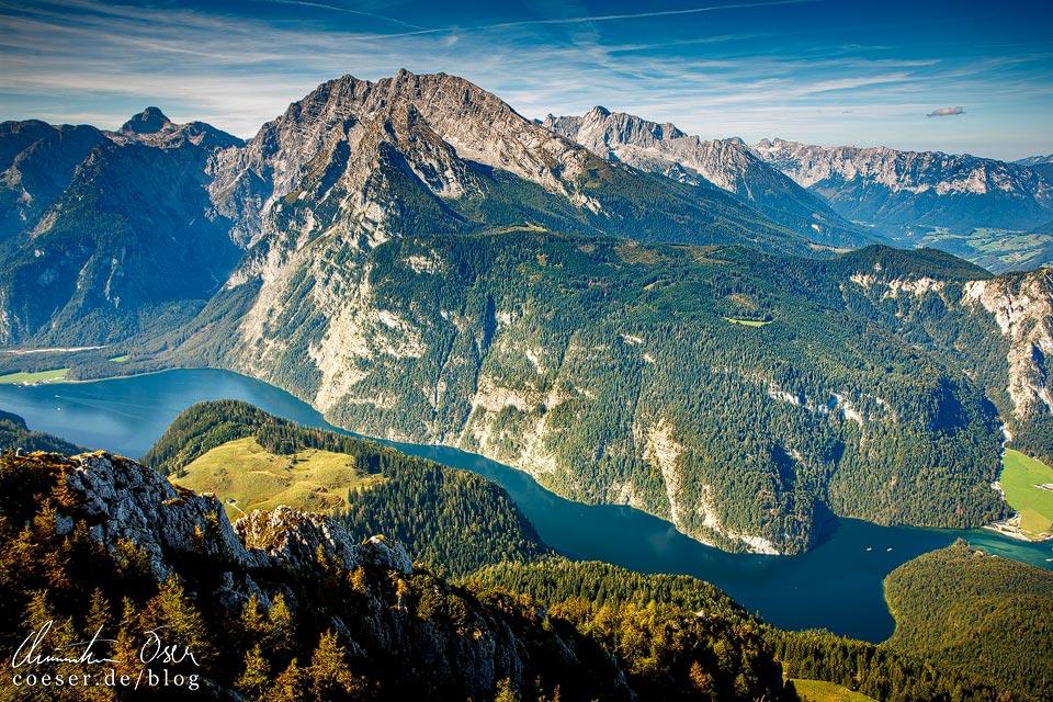 Ausblick vom Jenner auf den Königssee und den Watzmann