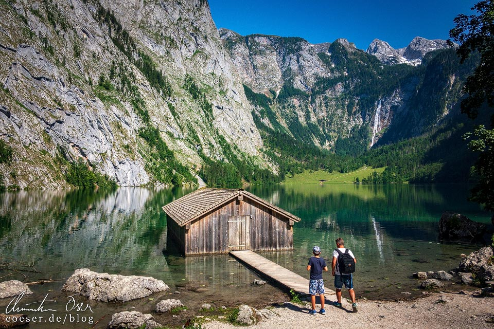 Bootshütte am Beginn des Obersees am Königssee