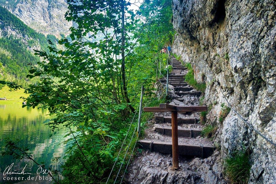 Steiler Wanderweg vom Obersee zur Fischunkelalm am Königssee