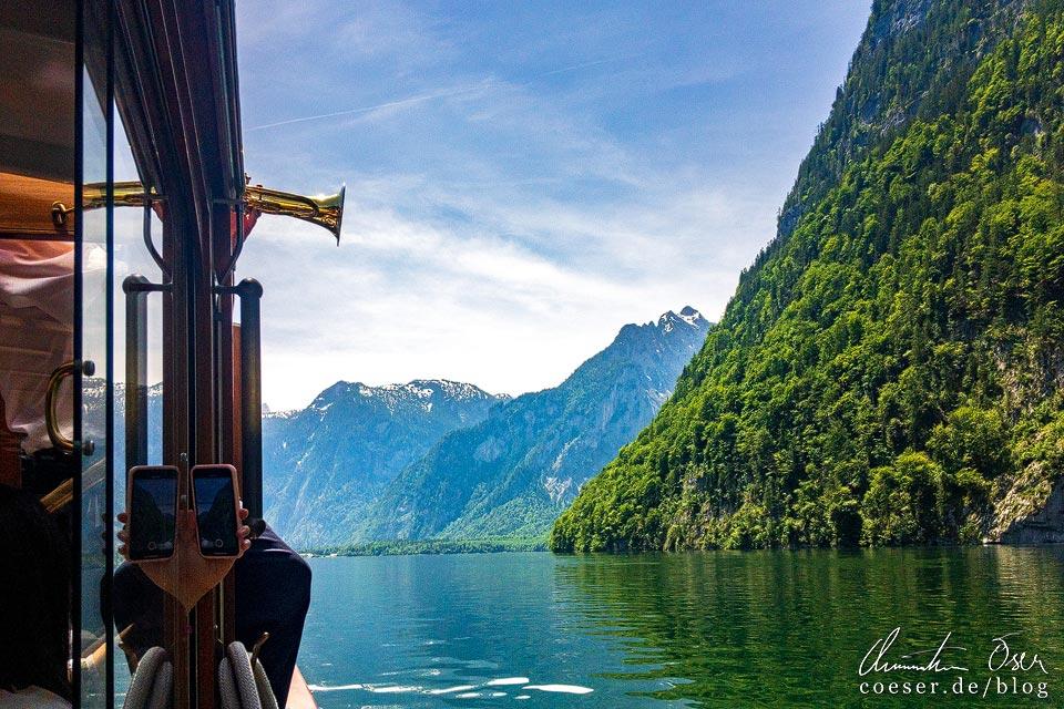 Trompetensolo des Kapitäns vor der Echowand am Königssee