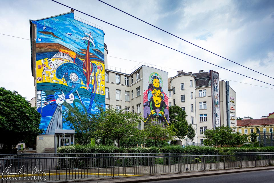 Vier Murals in der Hofmühlgasse in Wien