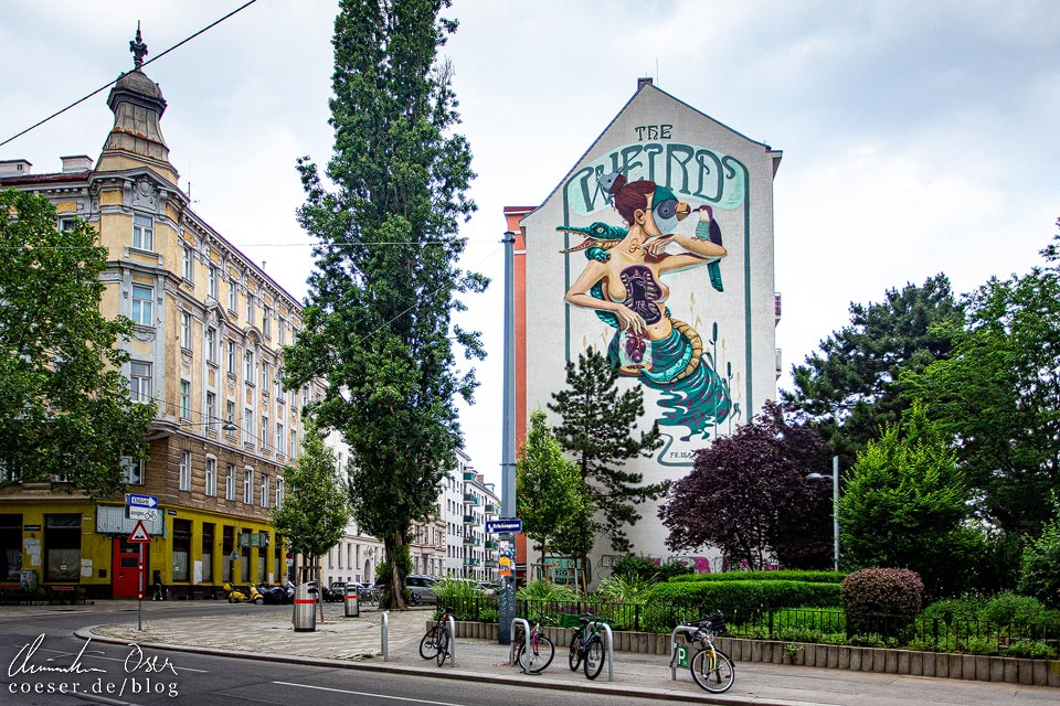 Mural The Weird von Frau Isa / NYCHOS / Rookie the Weird in Wien