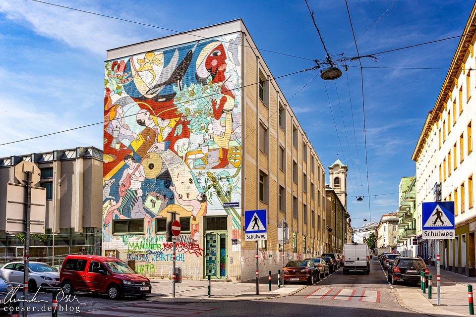 Mural von Alejandro Canales und der Wiener Wandmalgruppe in Wien