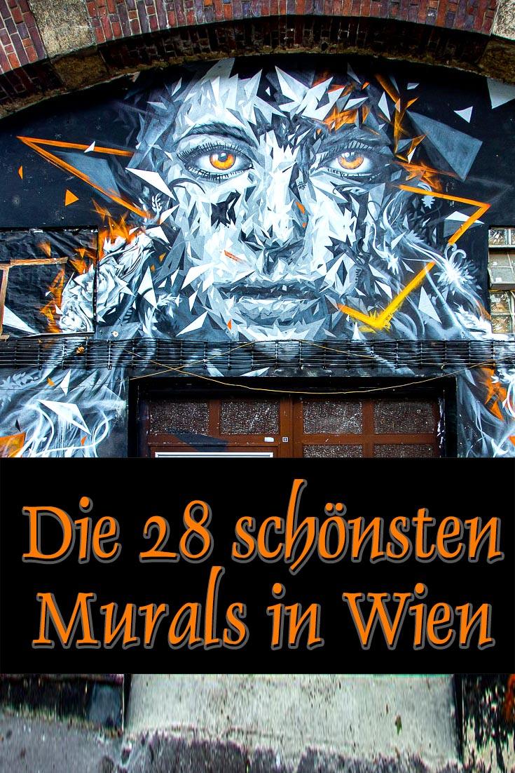 Blogartikel über die 28 schönsten Murals in Wien, Österreich mit allen Fotospots als GPS-Koordinaten und Information über weitere Kunstwerke.