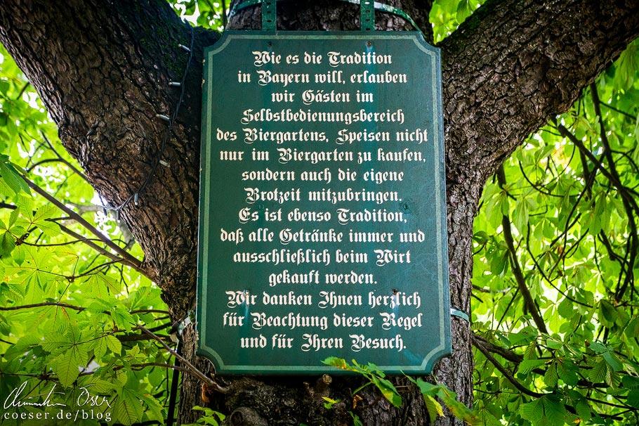 Brotzeitschild im Biergarten im Wirtshaus am Bavariapark in München
