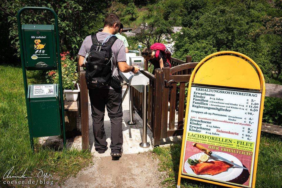 Drehkreuz am Eingang zur Steinwandklamm in Niederösterreich