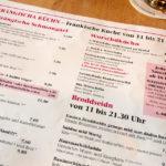 Speisekarte in der Gaststätte Zum Sternla in Bamberg