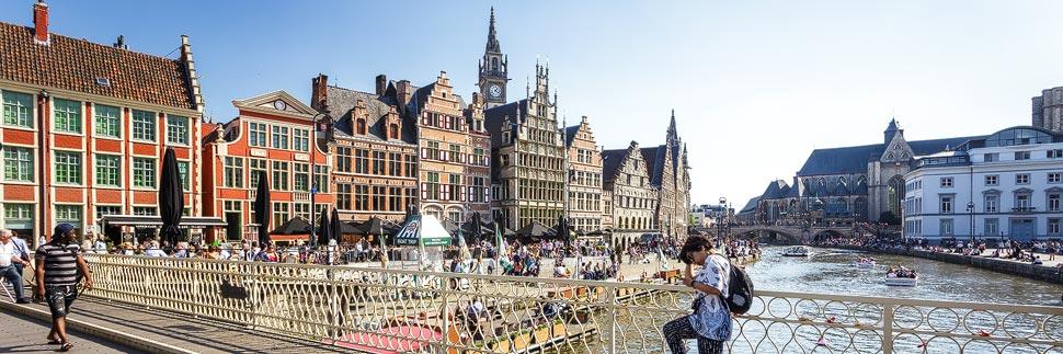 Uferterrassen Graslei und Korenlei in Gent