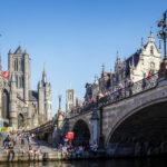 Blick auf die St.-Michael-Brücke und die Genter Dreiturmreihe