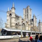 Außenansicht der St.-Nikolaus-Kirche in Gent