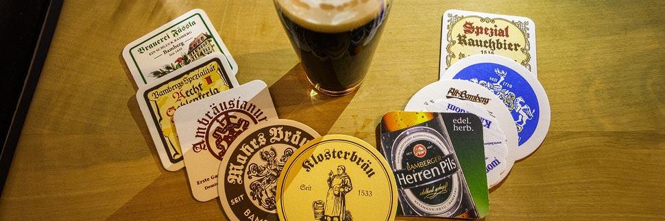 Bierdeckel der neun Brauereien Bambergs
