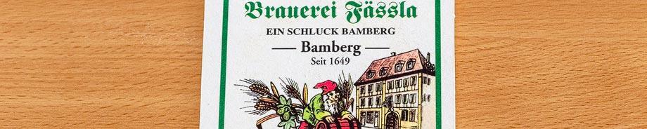 Bierdeckel der Brauerei Fässla in Bamberg