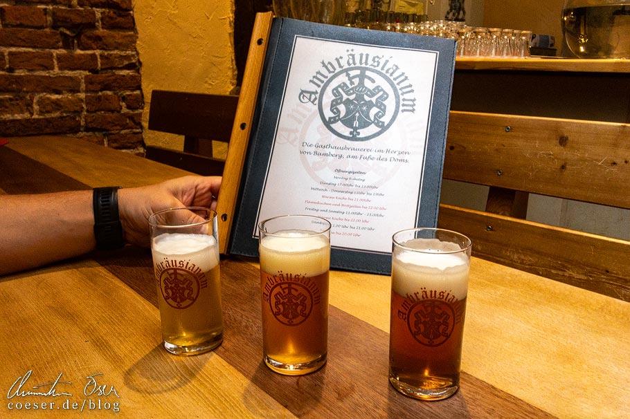 Bierprobe in der Brauerei Ambräusianum in Bamberg