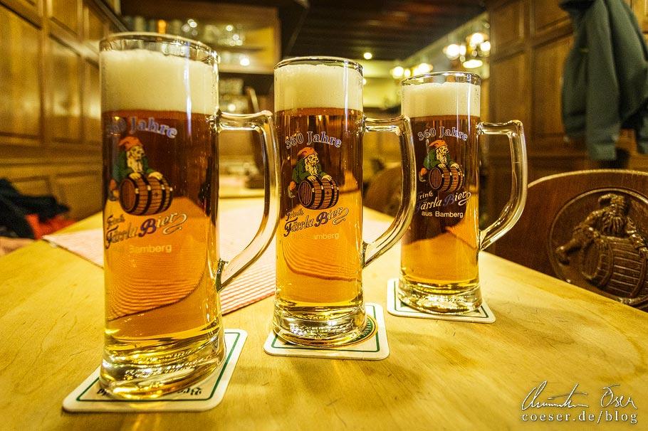 Drei Gläser Pils in der Brauerei Fässla in Bamberg