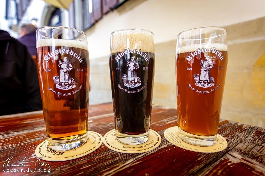 Braunbier, Schwärzla (Dunkles) und Kellerbier im Klosterbräu in Bamberg