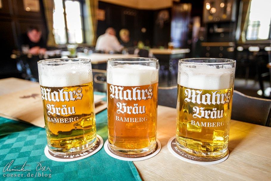 Ungespundetes Bier in der Brauerei Mahrs in Bamberg