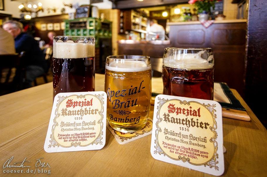 Rauchbier und Ungespundetes in der Brauerei Spezial in Bamberg
