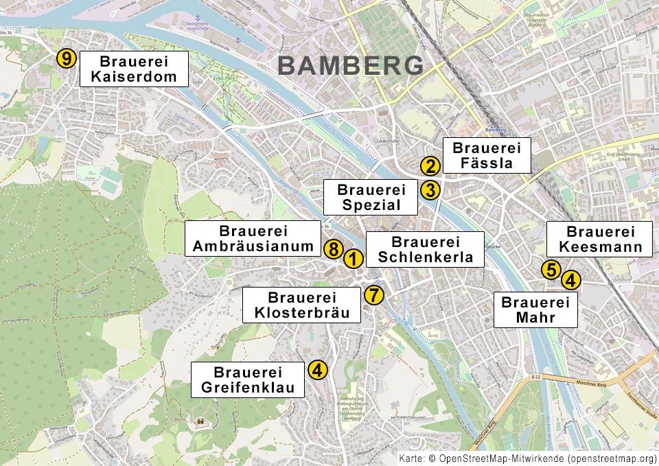 Karte zeigt die neun Brauereien in Bamberg